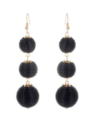 Trio Drop Earrings - Black
