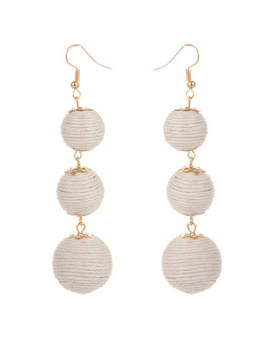 Trio Drop Earrings - White