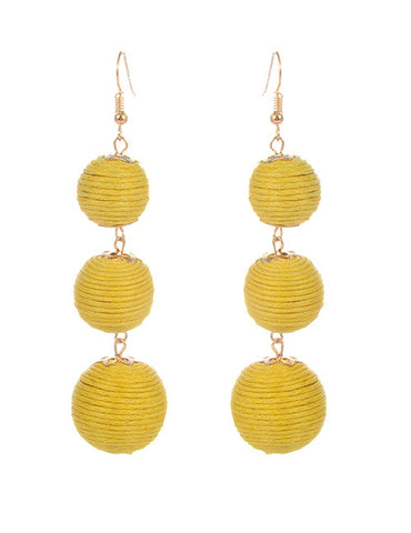 Trio Drop Earrings - Yellow