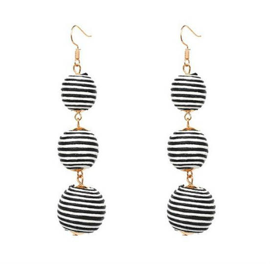 Trio Drop Earrings - Striped