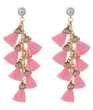 Pinata Tassel Drop Earrings - Light Pink