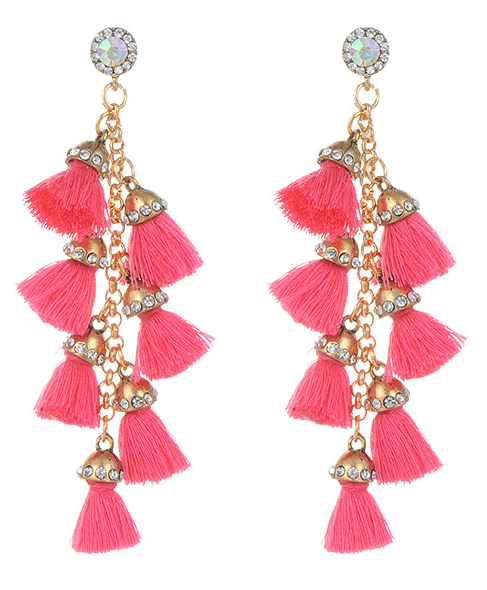 Pinata Tassel Drop Earrings - Hot Pink