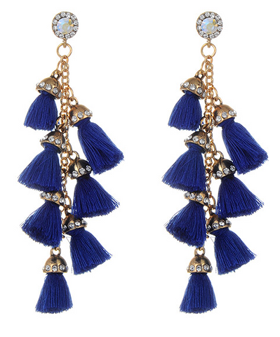 Pinata Tassel Drop Earrings - Navy Blue
