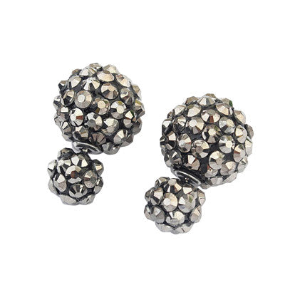Double Pearls - Gunmetal Spikes