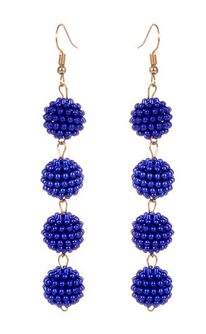Caviar Drop Earrings - Royal Blue