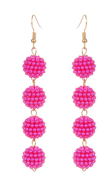 Caviar Drop Earrings - Hot Pink
