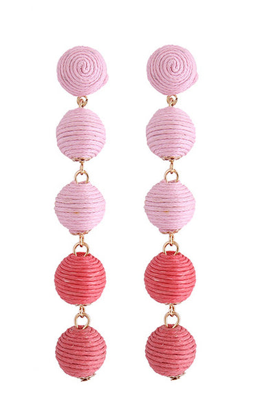Cinq Drop Earrings - Pink