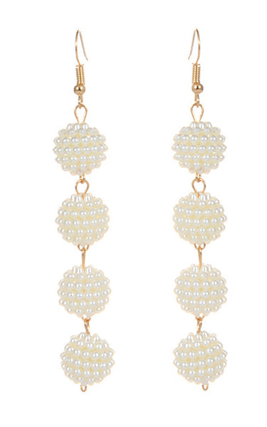 Caviar Drop Earrings - White