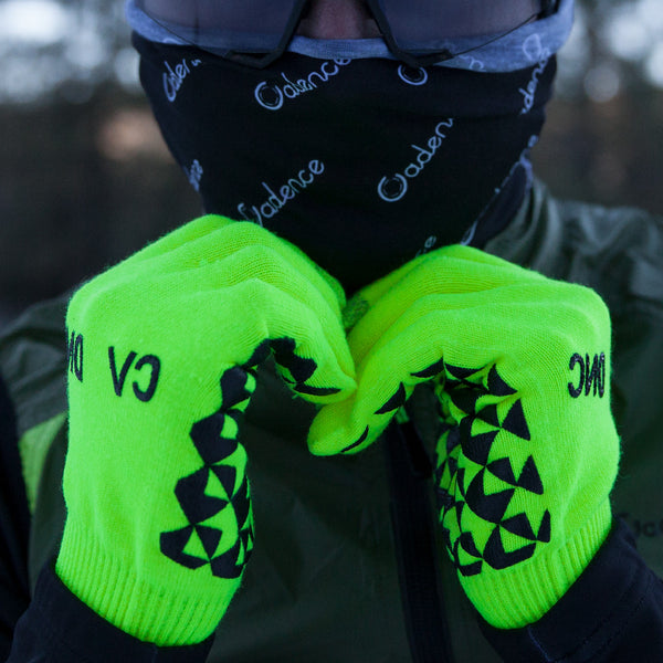 hi viz long finger cycling glove