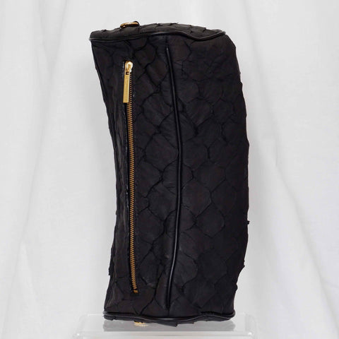 Crocodile Back Strap Tote in Black