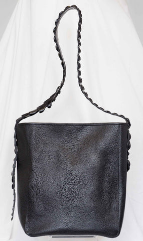 Calf Hair Clutch in Midnight