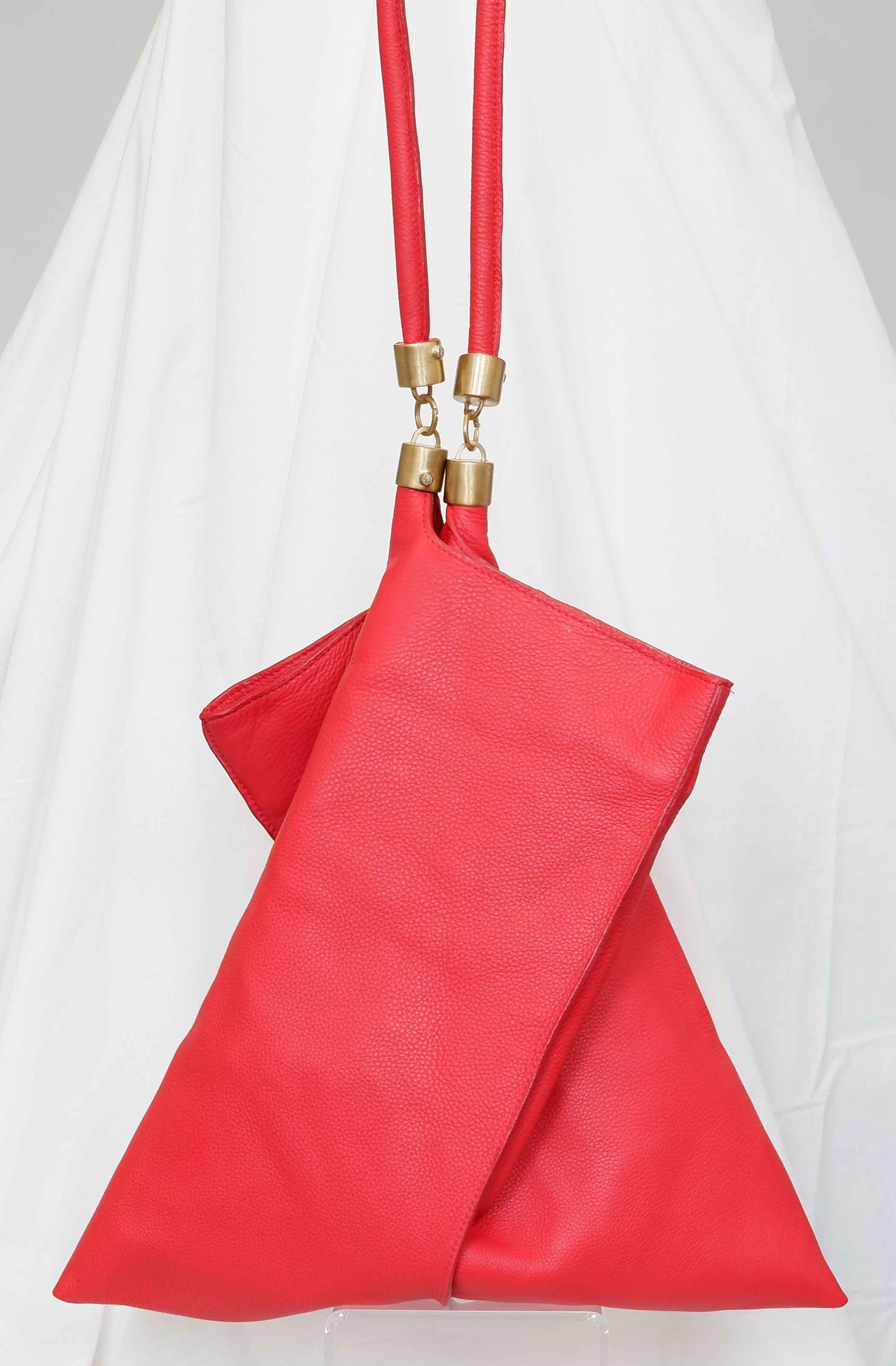 Large Origami Tote in Red