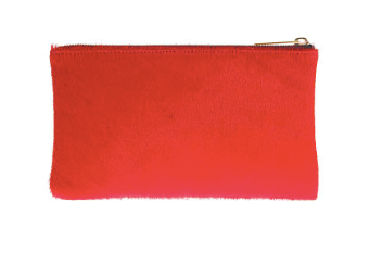 Medium Calf Hair Clutch in Merlot