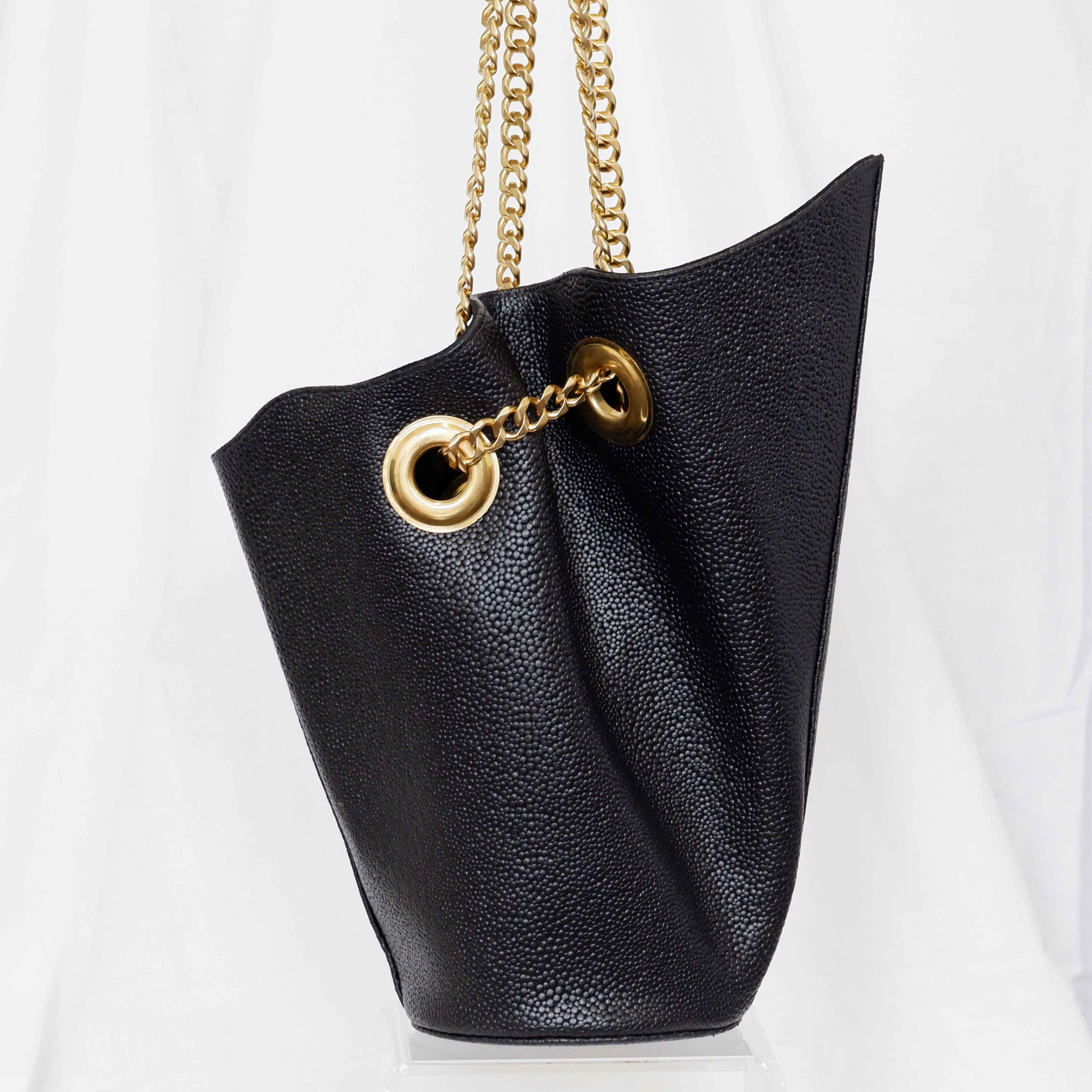 Susan Bucket Bag in Black Pebble, Small