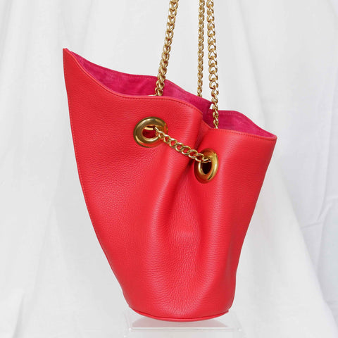 Susan Bucket Bag in Lipstick Red, Small