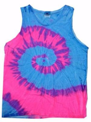 Unisex Tie Dye Tank Tops - Fluorescent Swirl Blue and Pink