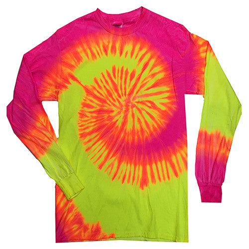 spiral fluorescent swirl long sleeved tie dye t-shirt