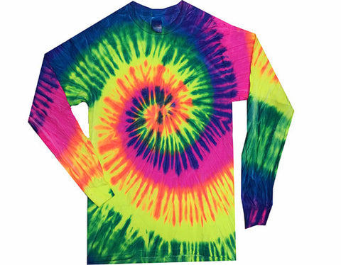 Spiral Neon Rainbow Long Sleeved Tie Dye shirt