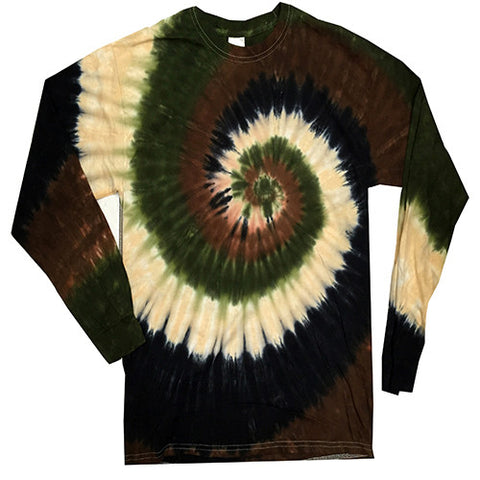 Spiral Camo Swirl Long Sleeved Tie Dye