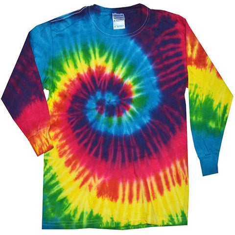 Spiral Reactive Rainbow Long Sleeved Tie Dye shirt