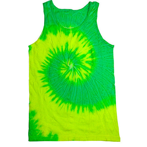 Unisex Tie Dye Tank Tops - Fluorescent Yellow and Lime