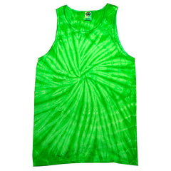 Unisex Tie Dye Tank Tops - Spider Lime