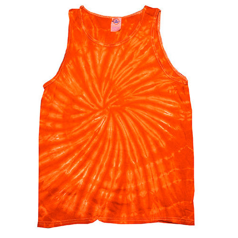 Unisex Tie Dye Tank Tops - Spider Orange