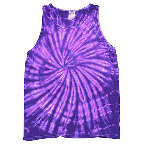 Unisex Tie Dye Tank Tops - Spider Purple