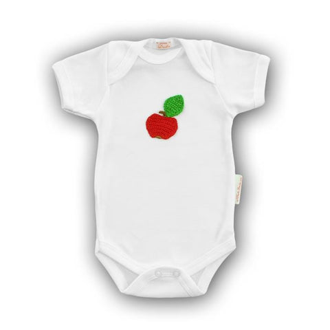 Apple Baby Onesie with Hand-Crocheted Picture