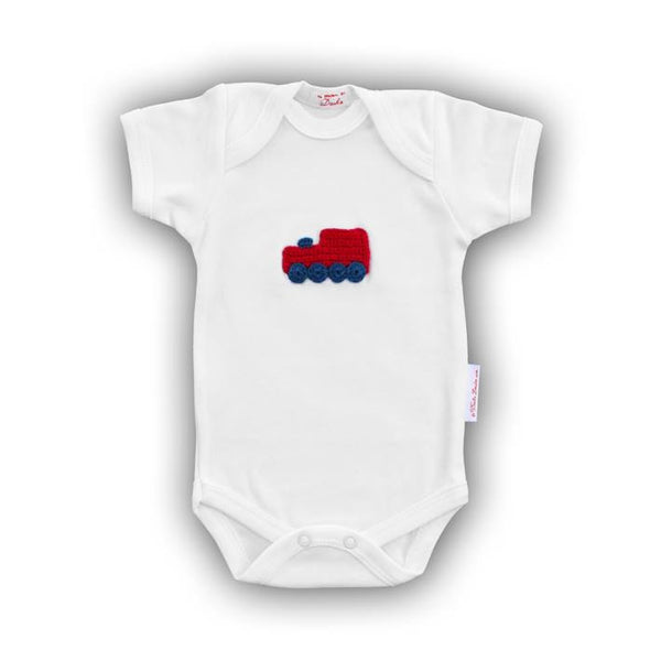 Red Train Baby Onesie with Hand-Crocheted Picture