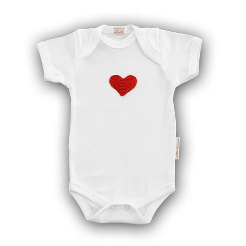 Red Heart Baby Onesie with Hand-Crocheted Picture