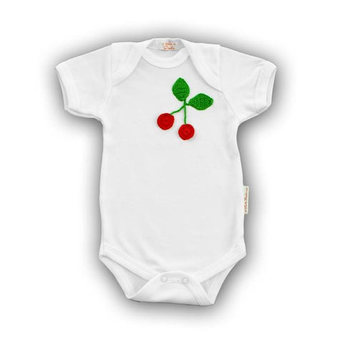 Cherry Baby Onesie with Hand-Crocheted Picture