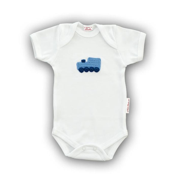 Blue Train Baby Onesie with Hand-Crocheted Picture