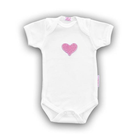 Pink Heart Baby Onesie with Hand-Crocheted Picture