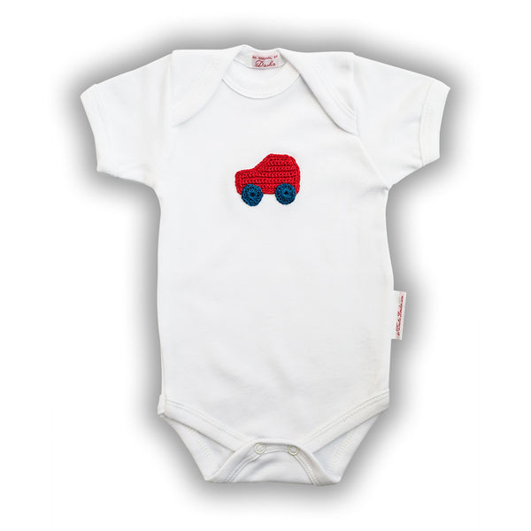 Red Car Baby Onesie with Hand-Crocheted Picture