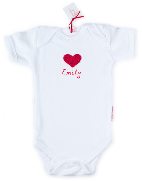 Baby Onesie  - Customize with hand crocheted Picture and a baby's Name in 3D paint!