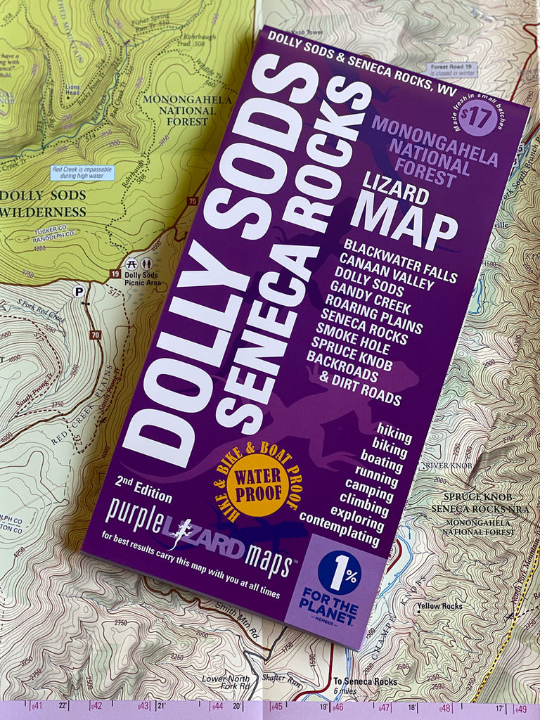 SOLD OUT - Dolly Sods-Seneca Rocks Lizard Map, Monongahela National Forest, West Virginia