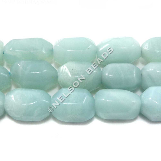 Chinese Amazonite Faceted Drum Beads