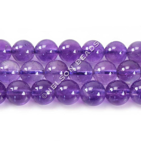 8mm Amethyst Semiprecious Round Gemstone Beads