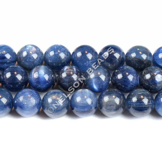 8mm Blue Kyanite Round Beads Grade AB