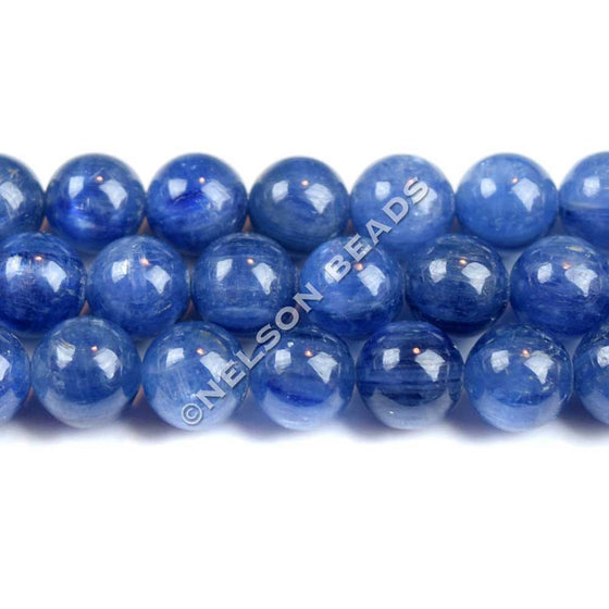 8mm Blue Kyanite Round Beads Top Grade