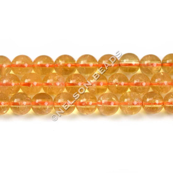 6mm Citrine Gemstone Beads