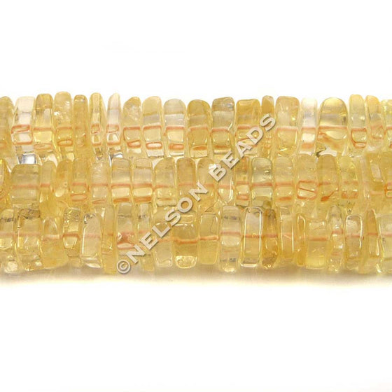 6mm Square Citrine Heishi Beads