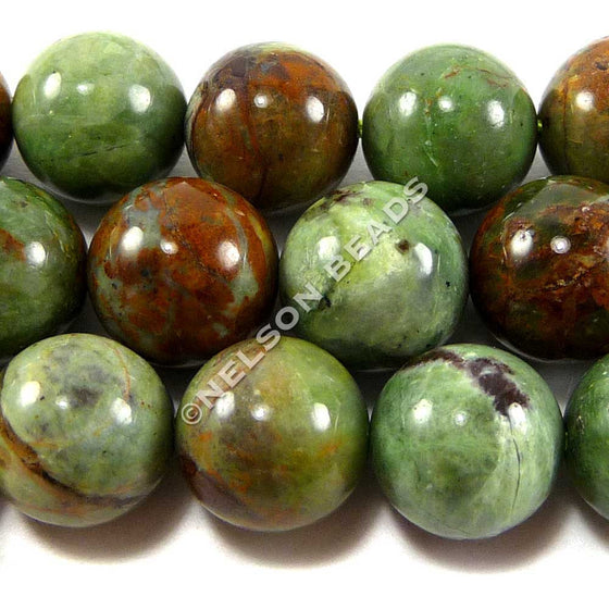 12mm Round Green Opal Beads
