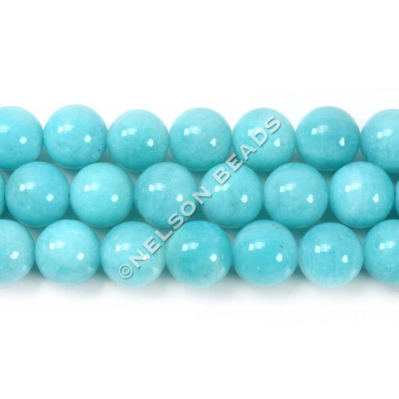 Top Quality 8mm Round Peruvian Amazonite Beads