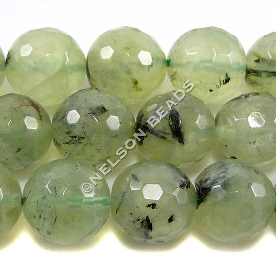 12mm Faceted Prehnite Beads