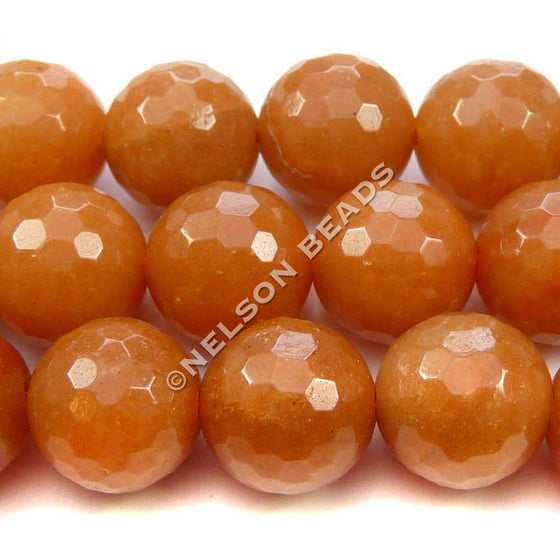 12mm Faceted Red Aventurine Beads