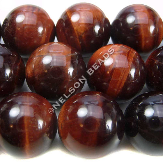 14mm Round Red Tiger Eye Beads