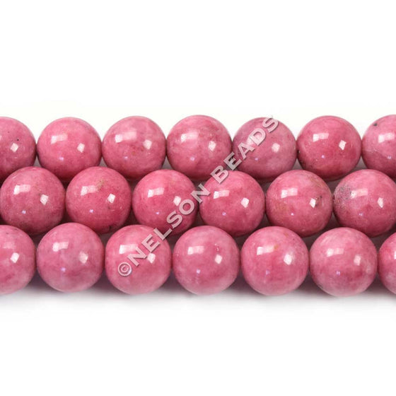 8mm Pink Rhodonite Round Gemstone Beads