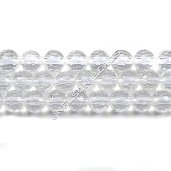 6mm Rock Crystal Faceted Beads
